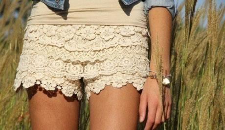 С чем носить кружевные шорты