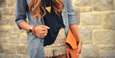 Кружевные шорты и верхняя одежда